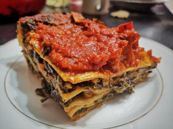 Lasagna cu spanac si ciuperci